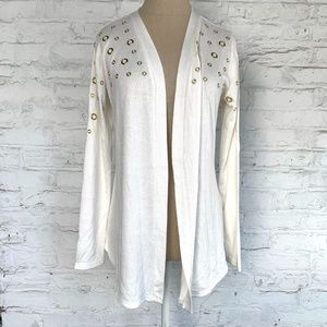 Cardigan sweater ivory white gold grommets open S